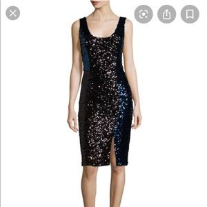 French Connection Black and Blue sequined dress